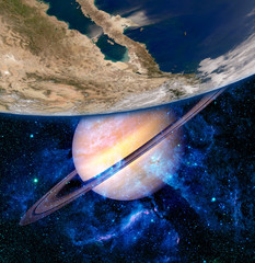 Earth Saturn Planet Surreal