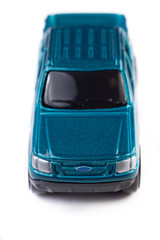 Macro Blue Toy Car Top Front View