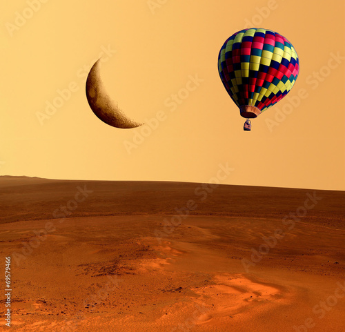 Fotobehang Ballon Balloon Fantasy Desert Moon