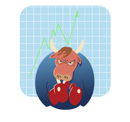 bull vector cartoon ready to take over stock market