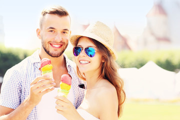 Happy couple and ice-cream