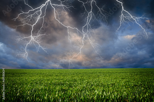Thunderstorm with lightning in green meadow - 69580634