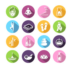 Icons representing wellness, spa, and relaxation.