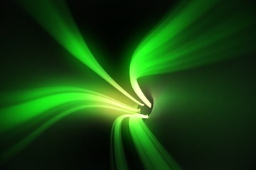 Green vortex with bright light