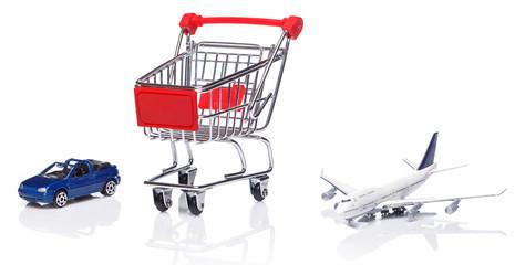 Shopping trolley, aircraft and car