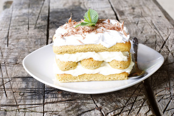 tiramisu decorated with mint