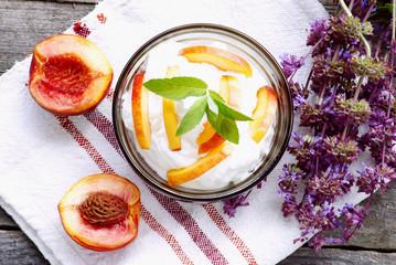 organic cream with nectarines