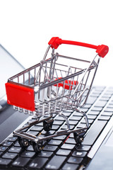 Shopping trolley over keyboard