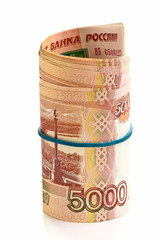 Roll of Russian money with rubber band