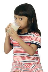 Cute Asian Girl Drinking Milk