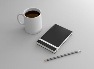 Notizbuch Tasse Kaffee weiß mit Bleistift