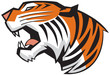 Tiger Head Roaring Side View Vector Graphic