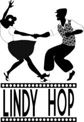 Lindy hop dancers silhouette