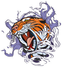 Roaring Tiger Head Ripping out Background
