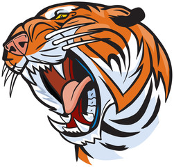 Tiger Head Roaring Vector Cartoon Illustration