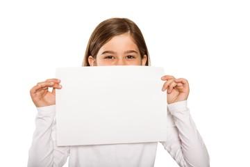 Cute little girl showing card
