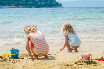 children playing with sand