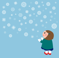A background image of snow flakes and a girl