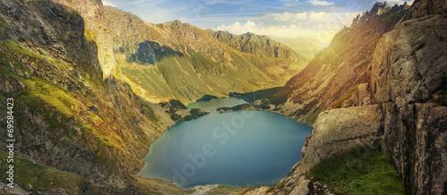 Panoramic view of mountain lakes in Tatra mountains