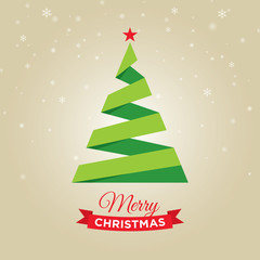 Merry christmas card with christmas tree, gold background