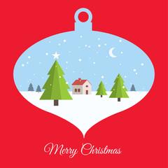 Merry christmas card, with christmas ball scene