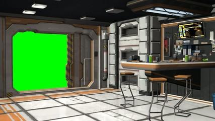 Scifi Spaceship Room - Video Background - Green Screen