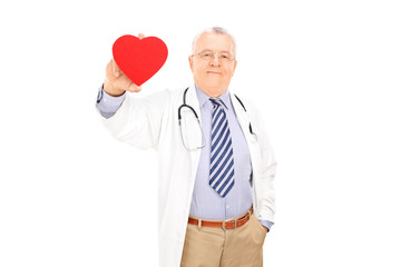 Mature doctor holding a small red heart