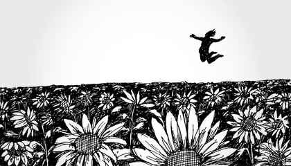 Hand Drawn Illustration of a Man Jumping in the Flower Field