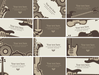 set of business cards with musical instruments