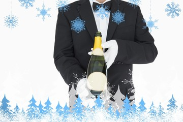 Composite image of waiter holding champagne bottle