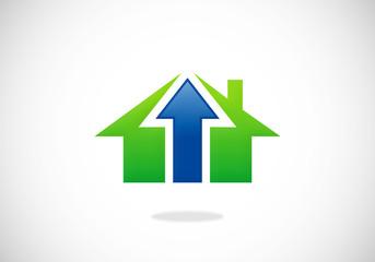 home building arrow sold abstract vector logo