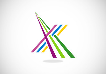 lines perspective construction letter X vector logo