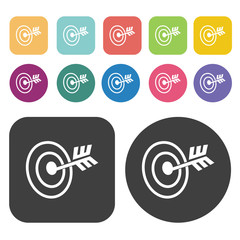 Bulls eye iconss set. Round and rectangle colourful 12 buttons.
