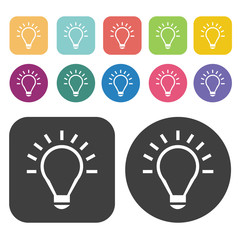 Light bulb icons set. Round and rectangle colourful 12 buttons.
