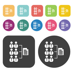 Hierarchy flat icons set. Round and rectangle colourful 12 butto