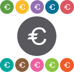 Euro sign icons set. Round colourful 12 buttons. Vector illustra