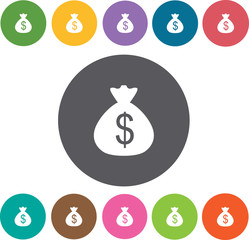 Dollar sign in sack icons set. Round colourful 12 buttons. Vecto