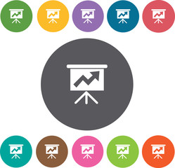 Business growing chart presentation icons set. Round colourful 1
