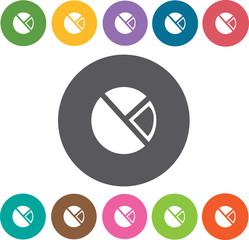Pie chart icons set. Round colourful 12 buttons. Vector illustra