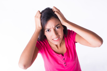 isolated beautiful young woman angry and upset screaming
