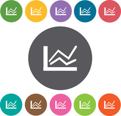 Graph iconss set. Round colourful 12 buttons. Vector illustratio