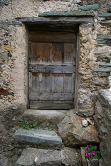 Old door: coloring medieval of French village