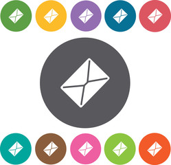 Envelope icons set. Round colourful 12 buttons. Vector illustrat
