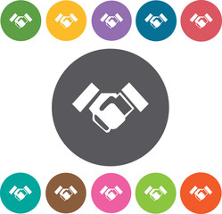 Shake hands icons set. Round colourful 12 buttons. Vector illust