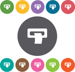 Receipt iconss set. Round colourful 12 buttons. Vector illustrat
