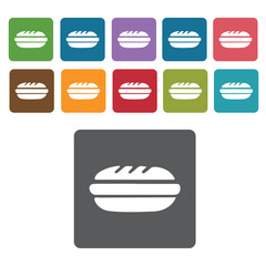 Hotdog sandwich icons set. Rectangle colourful 12 buttons. Vecto