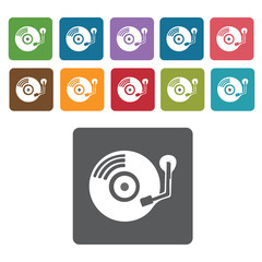 Record player icons set. Rectangle colourful 12 buttons. Vector