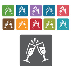 Cheers glasses icons set. Rectangle colourful 12 buttons. Vector