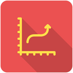 Chart icon (flat design with long shadows)