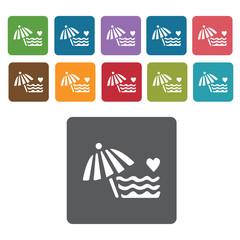 Beach umbrella icons set. Rectangle colourful 12 buttons. Vector